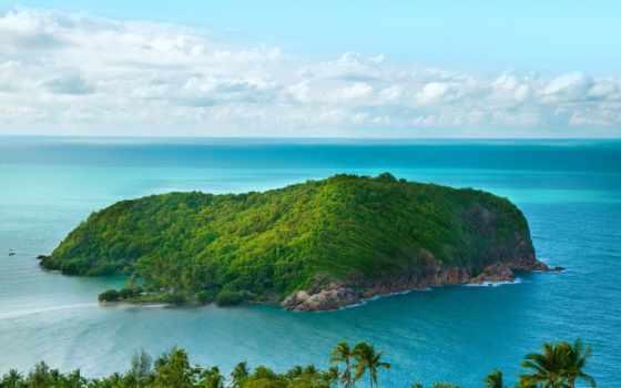 совершенно, зелёный, остров, ocean, рай, океане,
