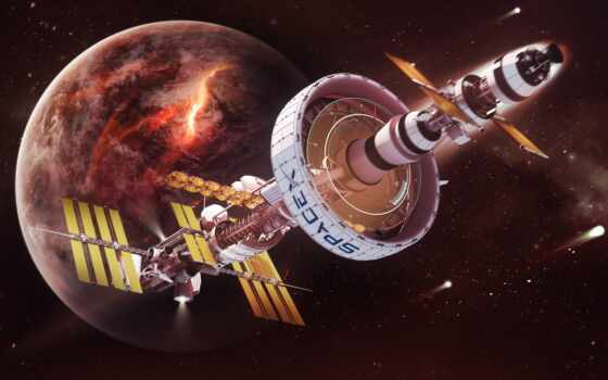 космос, spacex, art, scus, planet, futuristic, станция, spaceship, nasa, spacestation, fantasy