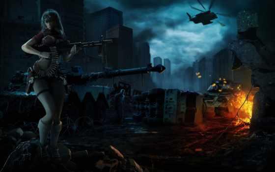 зомби, ночь, art, девушка, вертолет, оружие, город,