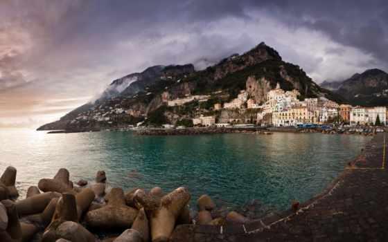 amalfi, italy, italian, побережье, дома, море, город, горы,