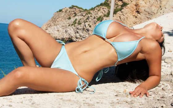 девушка, пляж, море Фон № 55066 разрешение 1920x1200