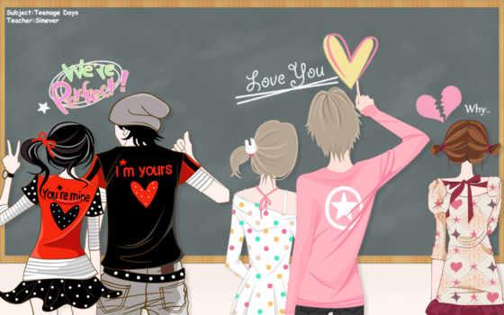 anime, парни, art, devushki, пары, сердечки, zheng,