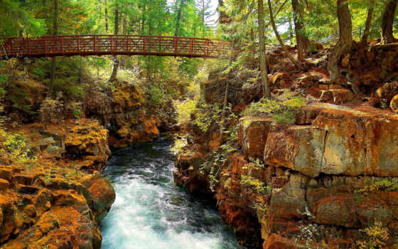 пейзажи -, мост, камни, скалы, природа, favourite, река, дек, trees, сквозь, landscape,