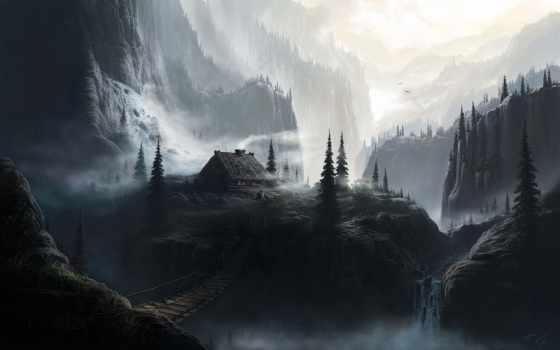 лес, lodge, горы, изьба, мост, лесу, winter, house,