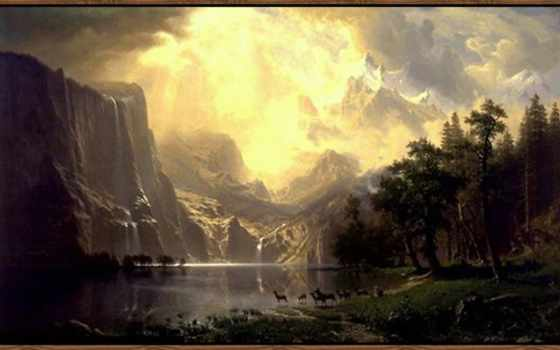 bierstadt, albert, sierra, nevada, california, among, mountains, art, американский,