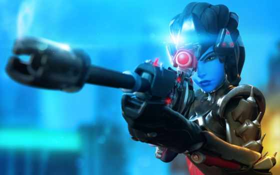 overwatch, ecran, widowmaker, youtube, fonds, sur, téléchargez,