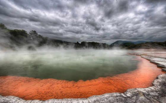 источник, горячий, тучи, вулкана, туман, пар, озеро, лава, деревья, rotorua, palette, desktop, artist, hdr, разное,