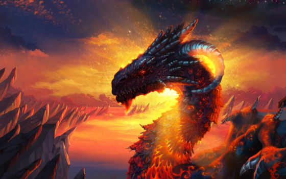 дракон, лава, склы