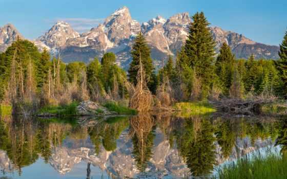 park, national, озера, титон, мб, горы, скинали, grand, banff, озеро,