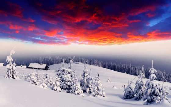 winter, сопки, домики, лес, снег, елки, деревушка, свечение, lodge, fantasy,