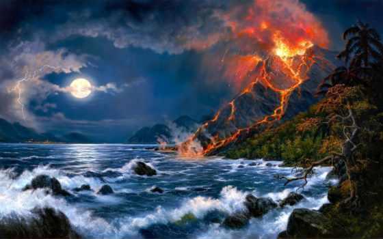 извержение, вулкана, вышивки, схема, автора, схемы, fantasy, представлена, названием, под,