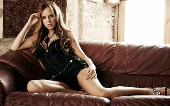 devushki, девушка, чёрное, girls, диван, белье, платье, lying,