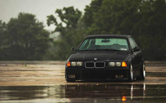bmw, black, дождь, черная,