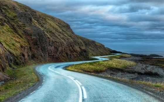 iceland, дорога, around, полоски, дороги, флаг, природа, ссср,