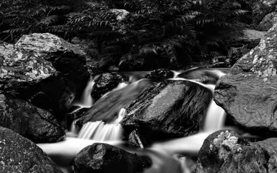 природа, озеро, different, водопад, лес, black