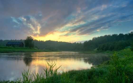 обои, лес, облака, небо, пейзажи, река, дом, приро