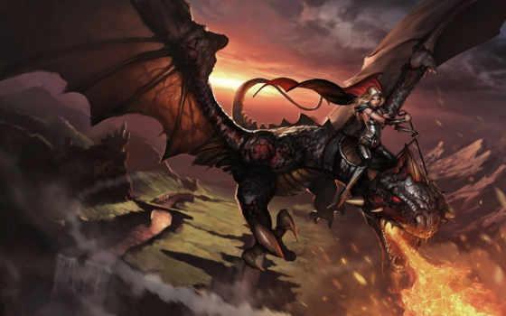 фэнтези, grzegorz, rutkowski, всадница, fantasy, огонь, вдохновляющая, галерея, digital, арт, himmel, kunst, drachen, am, небе, ущелье, река, плащ, девушка, верхом, дракон,