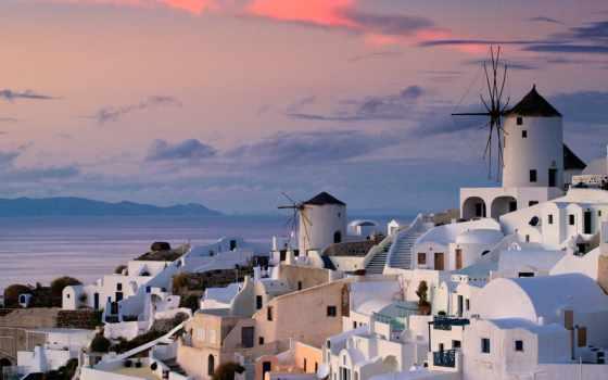 greece, город, море, дома, oia, взгляд, ocean, закат, небо, water, картинка,