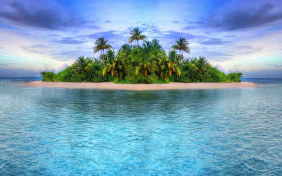 остров, океан, leto, тропики, priroda, небо, krasivo, пальмы, tropical,