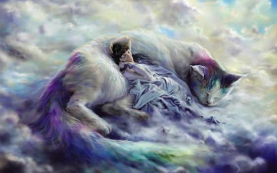 фэнтези, zhivotnye, волшебные, кошки, kartinka, широкоформатные, oblaka,