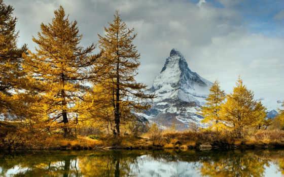осень, озеро, landscape