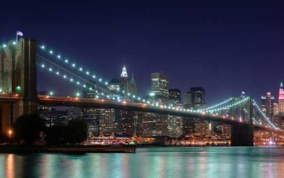 нью, york, ночь Фон № 124540 разрешение 2560x1024