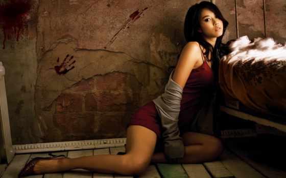 девушка, платье, модель, азиатская, лежит, спальне, красная, одежда, iphone,