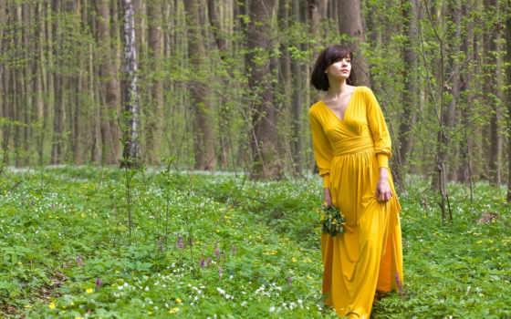 девушка, cvety, лесу, лес, devushki, собирает,