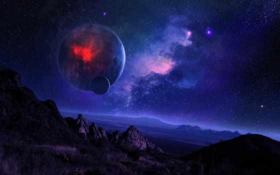 небо, звездное, ночь, cosmos, горы, planet, спутник,