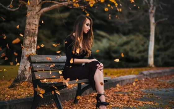осень, скамейка, park, девушка, листопад, картинка,