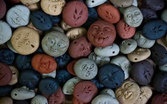 камни, рожицы, лица, фигурки, blue, серый, браун,
