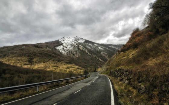 дорога, поле, fondos, mountains, гора, out,