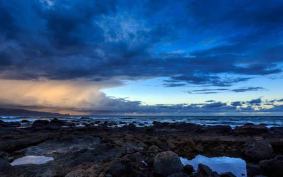 hawaii,  берег, скаты, небо