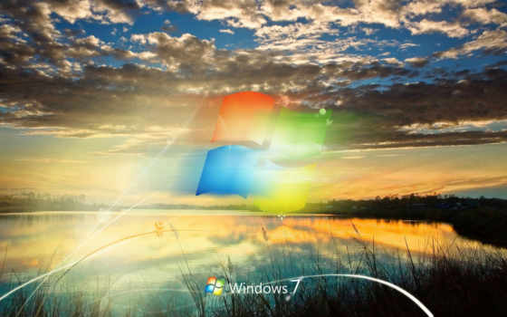 windows, se7en, лого, фон, озеро, рассвет, засветило, облака