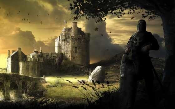 рыцарь, castle, art, меч, fortress, щит, камни, дерево, мост,