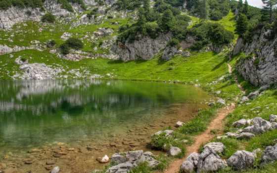 трава, камни, горы, озеро, зелёный, тропинка, холмы, гладь, отражение,