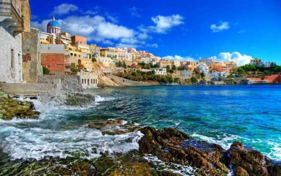 greece, море, природа, дома, landscape, небо, oblaka, greek,
