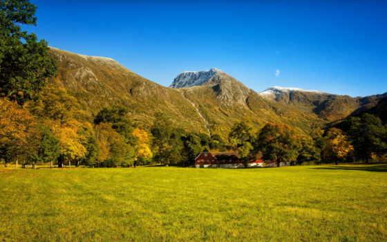 trees, лес, осень, трава, поляна, водопад, горы, house,
