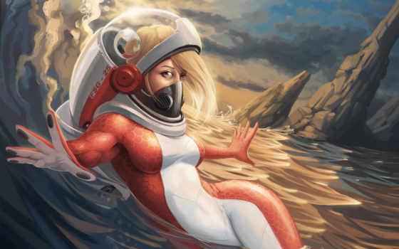 девушка, акваланг, море