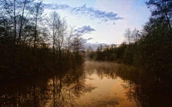 природа, вечер, река