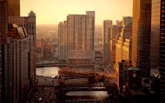 утро, chicago, город, река, usa, дома, мосты, города, cup,