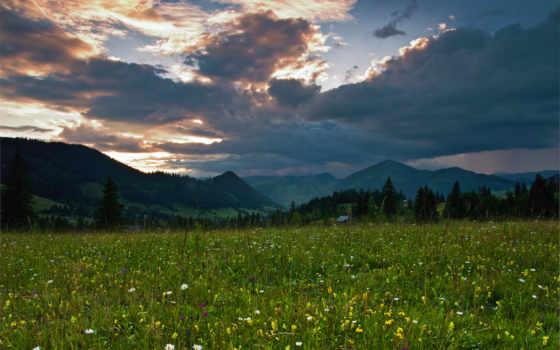 природа, landscape, cvety, поле, горы, закат, oblaka, excelent, art,