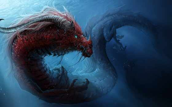 monster, water, дракон, art, underwater, коллекция