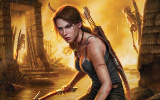 raider, tomb, croft, лара, game, art