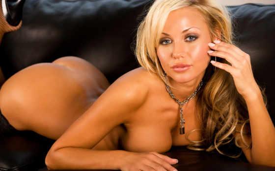 blonde, голая, диване