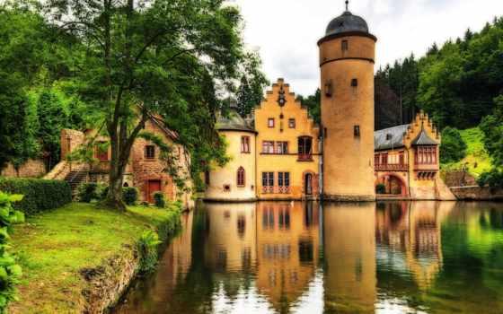 широкоформатные, замок, красивые, природа, качестве,