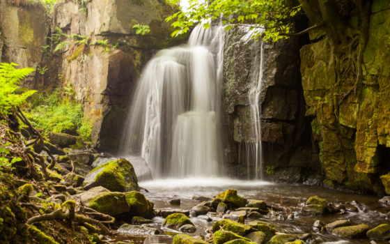 водопад, скалы, мох, камни, ветки, брызги, roots, trees,