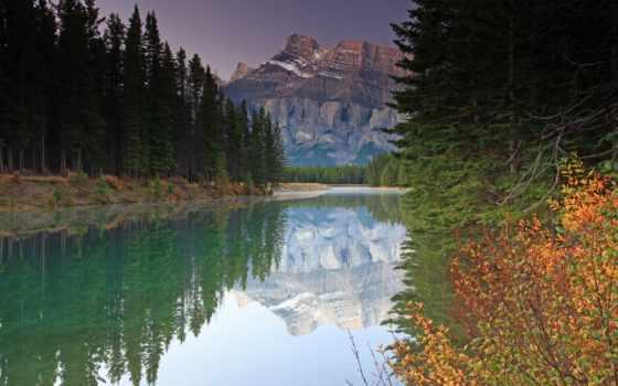 лес, река, гора, осень, природа, mountains,