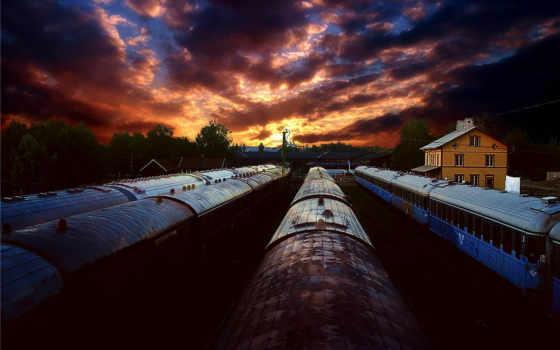 поезда, закат, поезд, wagon, страница, уходят, depot, дорога, тучи, стоит,