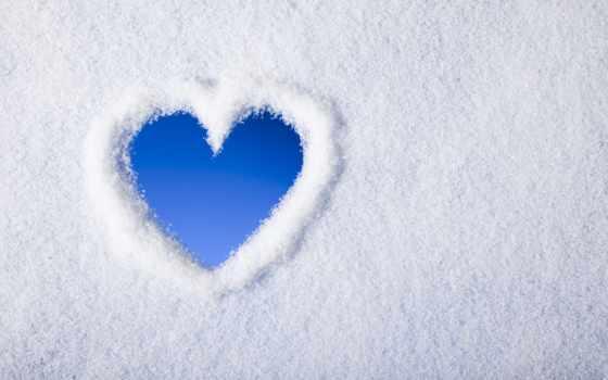 сердце, love, снег